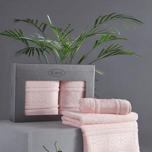Подарочный набор полотенец для ванной 50х90, 70х140 Karna ARMOND махра бамбук/хлопок пудра