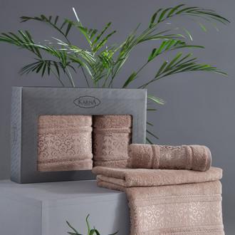 Подарочный набор полотенец для ванной 50х90, 70х140 Karna ARMOND махра бамбук/хлопок капучино