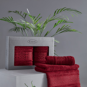 Подарочный набор полотенец для ванной 50х90, 70х140 Karna ARMOND махра бамбук/хлопок бордовый