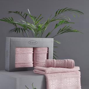 Подарочный набор полотенец для ванной 50х90, 70х140 Karna ARMOND махра бамбук/хлопок светло-лавандовый