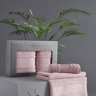 Подарочный набор полотенец для ванной 50*90, 70*140 Karna ARMOND махра бамбук/хлопок светло-лавандовый