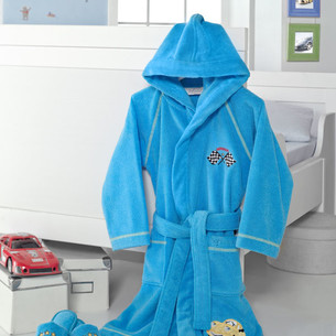 Халат детский для мальчика Soft Cotton PILOT хлопковая махра голубой 10 лет