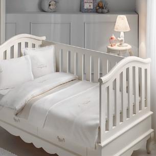 Постельное белье для новорожденных Tivolyo Home HAPPY BEBE хлопковый сатин делюкс бежевый