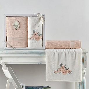 Подарочный набор полотенец для ванной 50х90, 70х140 Karna ELVIN хлопковая махра абрикосовый