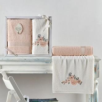 Подарочный набор полотенец для ванной 50*90, 70*140 Karna ELVIN хлопковая махра абрикосовый
