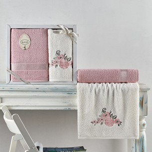 Подарочный набор полотенец для ванной 50х90, 70х140 Karna ELVIN хлопковая махра пудра