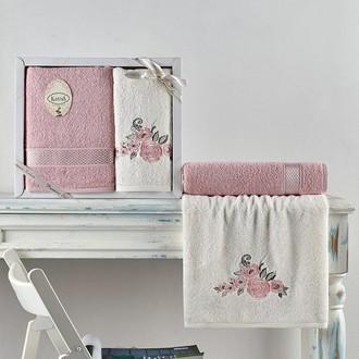 Подарочный набор полотенец для ванной 50*90, 70*140 Karna ELVIN хлопковая махра пудра