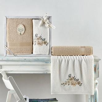 Подарочный набор полотенец для ванной 50*90, 70*140 Karna ELVIN хлопковая махра бежевый