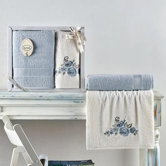Подарочный набор полотенец для ванной 50*90, 70*140 Karna ELVIN хлопковая махра светло-голубой