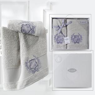 Подарочный набор полотенец для ванной 50х90, 70х140 Karna DAVIS хлопковая махра бежевый