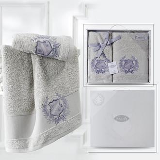 Подарочный набор полотенец для ванной 50*90, 70*140 Karna DAVIS хлопковая махра бежевый