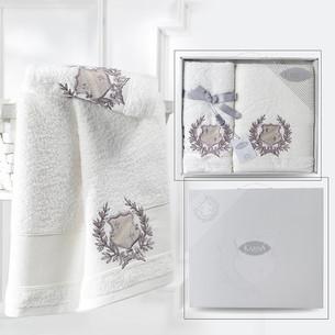 Подарочный набор полотенец для ванной 50х90, 70х140 Karna DAVIS хлопковая махра кремовый