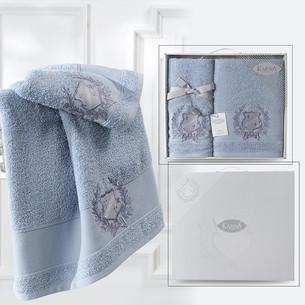 Подарочный набор полотенец для ванной 50х90, 70х140 Karna DAVIS хлопковая махра голубой