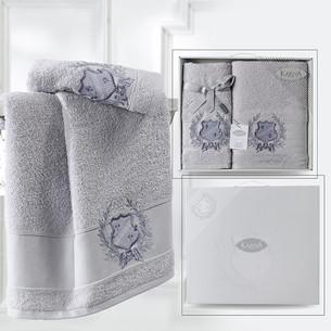 Подарочный набор полотенец для ванной 50х90, 70х140 Karna DAVIS хлопковая махра серый
