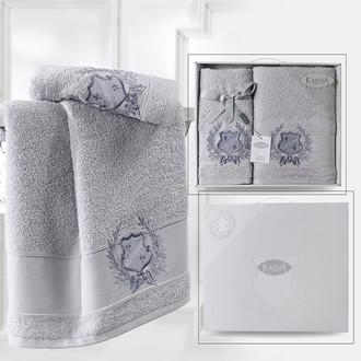 Подарочный набор полотенец для ванной 50*90, 70*140 Karna DAVIS хлопковая махра серый