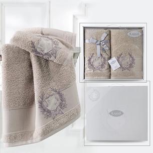 Подарочный набор полотенец для ванной 50х90, 70х140 Karna DAVIS хлопковая махра кофейный