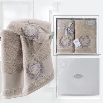 Подарочный набор полотенец для ванной 50*90, 70*140 Karna DAVIS хлопковая махра кофейный