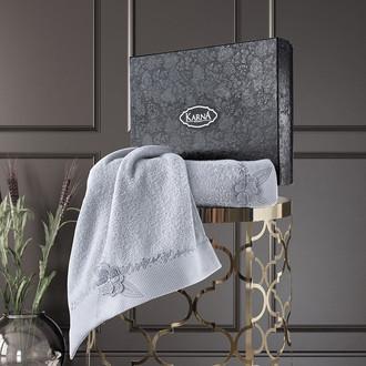 Подарочный набор полотенец для ванной 50*90, 70*140 Karna SIENA хлопковая махра серый
