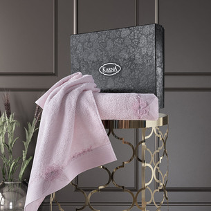 Подарочный набор полотенец для ванной 50х90, 70х140 Karna SIENA хлопковая махра грязно-розовый