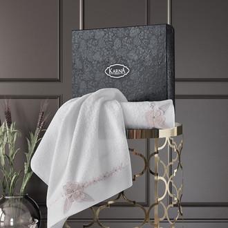 Подарочный набор полотенец для ванной 50*90, 70*140 Karna SIENA хлопковая махра кремовый