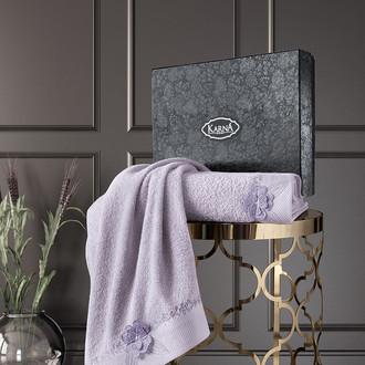 Подарочный набор полотенец для ванной 50*90, 70*140 Karna SIENA хлопковая махра светло-лавандовый