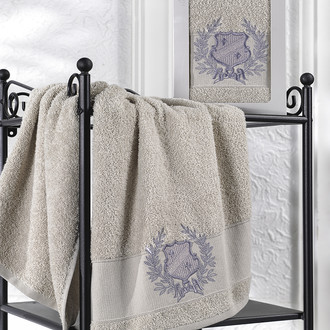 Полотенце для ванной в подарочной упаковке Karna DAVIS хлопковая махра бежевый
