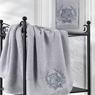 Полотенце для ванной в подарочной упаковке Karna DAVIS хлопковая махра серый 50х90