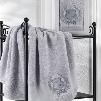 Полотенце для ванной в подарочной упаковке Karna DAVIS хлопковая махра серый