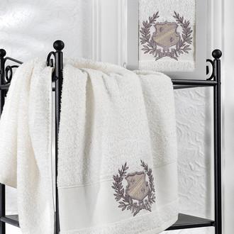 Полотенце для ванной в подарочной упаковке Karna DAVIS хлопковая махра кремовый