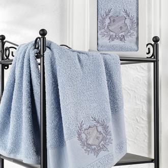 Полотенце для ванной в подарочной упаковке Karna DAVIS хлопковая махра голубой