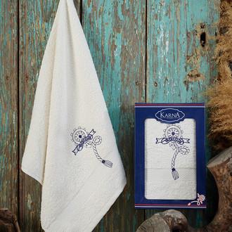 Полотенце для ванной в подарочной упаковке Karna ROTA хлопковая махра кремовый