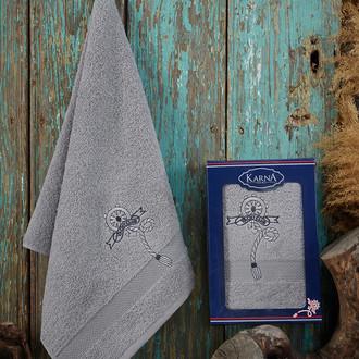 Полотенце для ванной в подарочной упаковке Karna ROTA хлопковая махра серый