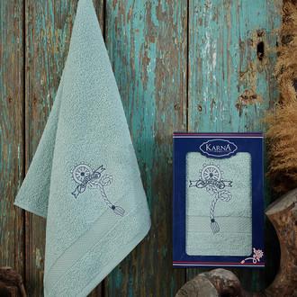 Полотенце для ванной в подарочной упаковке Karna ROTA хлопковая махра зелёный