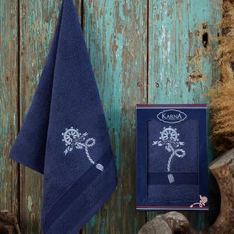 Полотенце для ванной в подарочной упаковке Karna ROTA хлопковая махра парламент