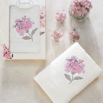Полотенце для ванной в подарочной упаковке Karna OPAK хлопковая махра кремовый