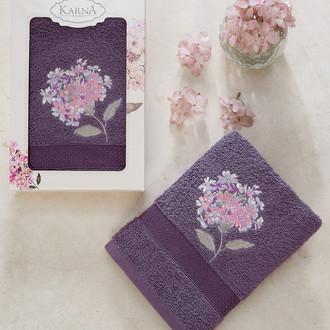 Полотенце для ванной в подарочной упаковке Karna OPAK хлопковая махра фиолетовый