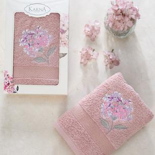 Полотенце для ванной в подарочной упаковке Karna OPAK хлопковая махра шампань 50х90