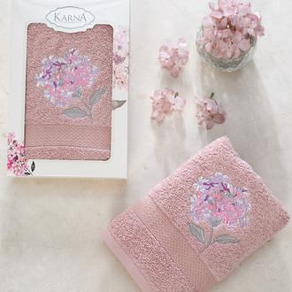 Полотенце для ванной в подарочной упаковке Karna OPAK хлопковая махра шампань