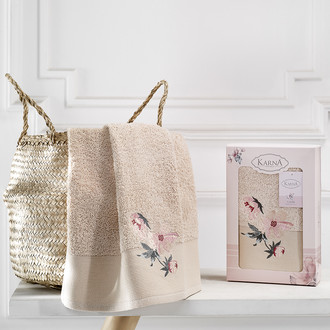 Полотенце для ванной в подарочной упаковке Karna VALDI хлопковая махра бежевый