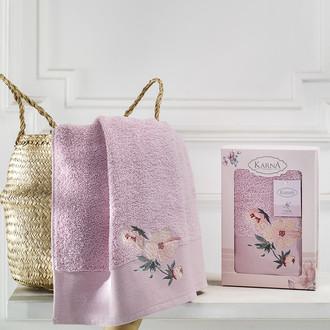 Полотенце для ванной в подарочной упаковке Karna VALDI хлопковая махра светло-лавандовый