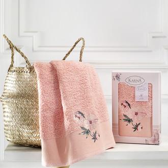 Полотенце для ванной в подарочной упаковке Karna VALDI хлопковая махра абрикосовый
