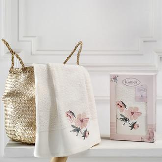 Полотенце для ванной в подарочной упаковке Karna VALDI хлопковая махра кремовый