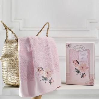 Полотенце для ванной в подарочной упаковке Karna VALDI хлопковая махра розовый