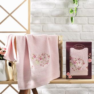 Полотенце для ванной в подарочной упаковке Karna MALDEN хлопковая махра пудра
