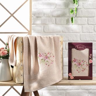 Полотенце для ванной в подарочной упаковке Karna MALDEN хлопковая махра бежевый