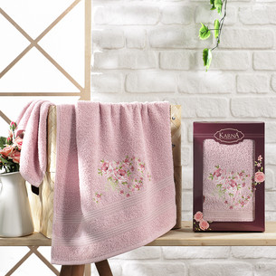 Полотенце для ванной в подарочной упаковке Karna MALDEN хлопковая махра светло-лавандовый 50х90