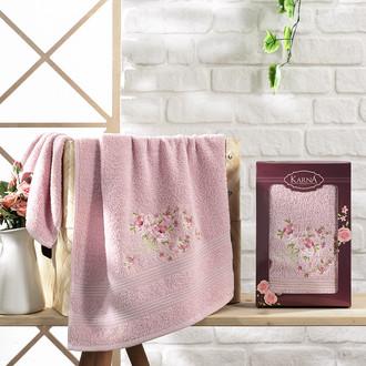 Полотенце для ванной в подарочной упаковке Karna MALDEN хлопковая махра светло-лавандовый