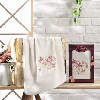 Полотенце для ванной в подарочной упаковке Karna MALDEN хлопковая махра кремовый