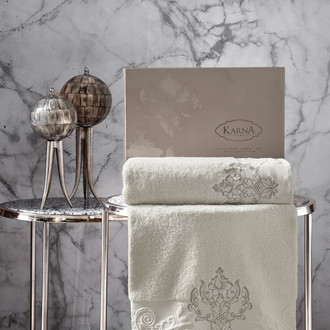 Подарочный набор полотенец для ванной 50*90, 70*140 Karna AROV хлопковая махра натурал