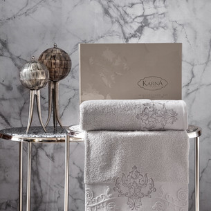 Подарочный набор полотенец для ванной 50х90, 70х140 Karna AROV хлопковая махра стоне